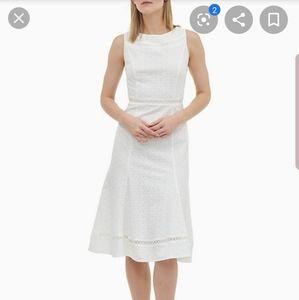 Calvin Klein LEAF PATTERN LACE BELTED DRESS